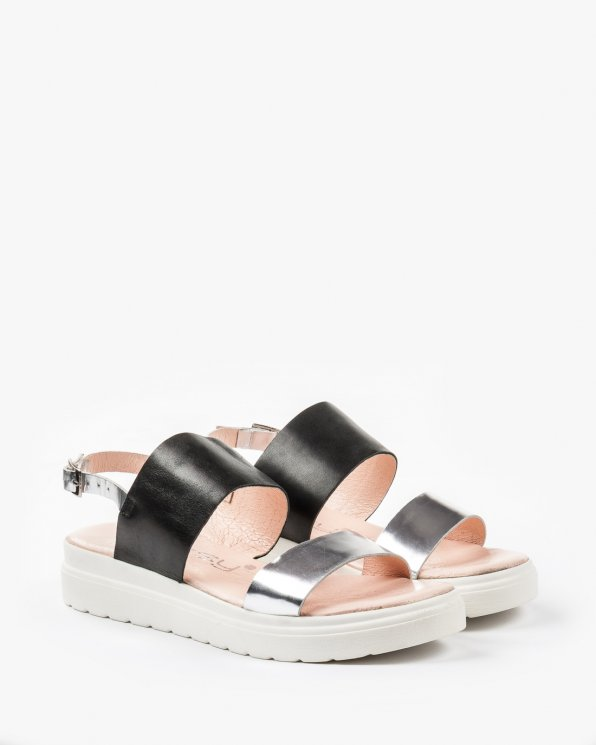 Czarno srebrne sandały damskie skórzane 2230/120/A89