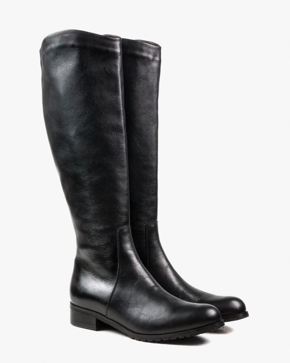 Czarne kozaki XS damskie skórzane 2669/A89