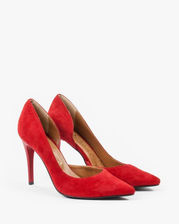 Czółenka czerwone damskie skórzane 1826/955