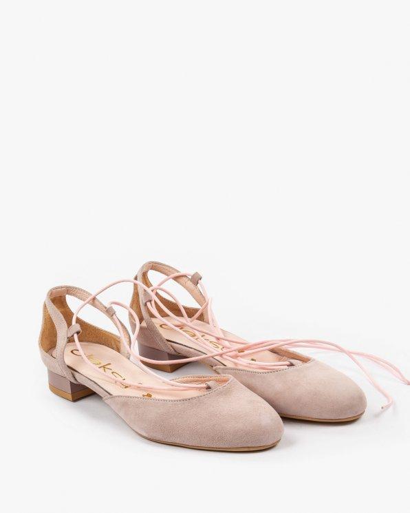 Różowe sznurowane sandały damskie skórzane 2129/C12
