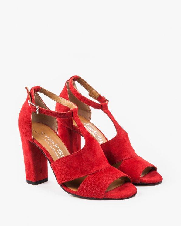 Czerwone sandały damskie skórzane 2294/955