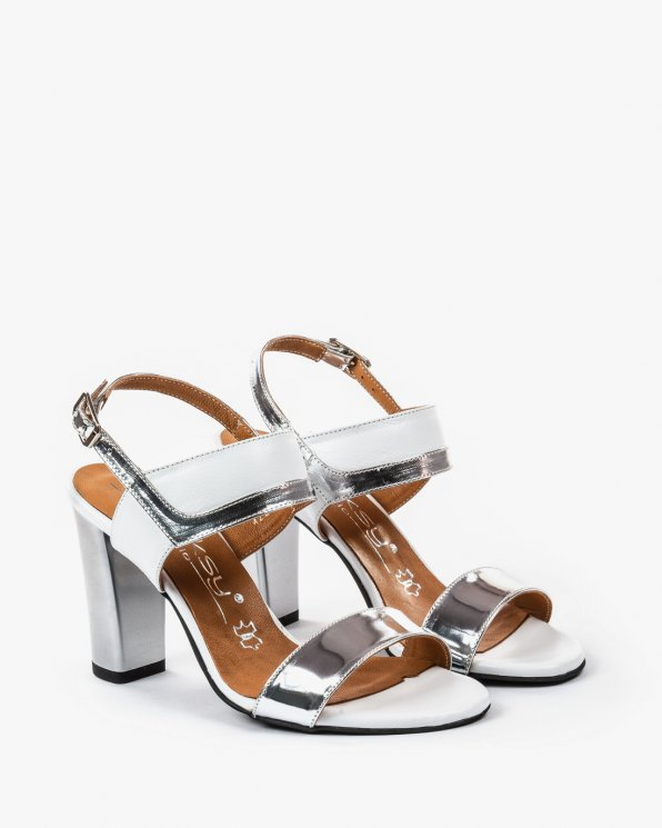 Biało srebrne sandały skórzane damskie skórzane 2290/120/534