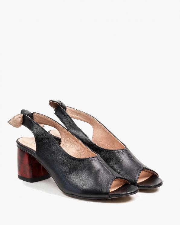 Czarne sandały damskie skórzane 2701/A89