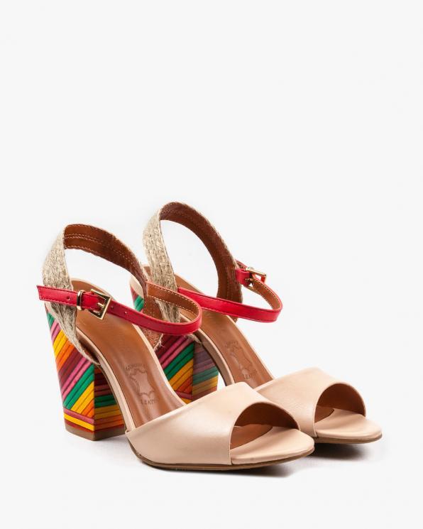 Wielokolorowe sandały damskie skórzane EXI50980/ATANADO BLUSH
