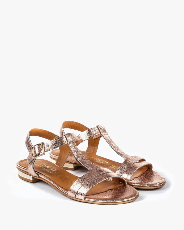 Złote sandały damksie skórzane 2000/C71