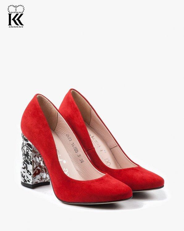 Czerwone czółenka damskie skórzane 2483/955