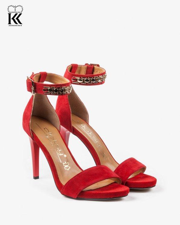 Czerwone sandały damskie skórzane 2405/955