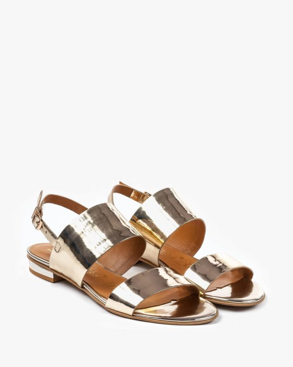Złote sandały damskie skórzane 2299/A38