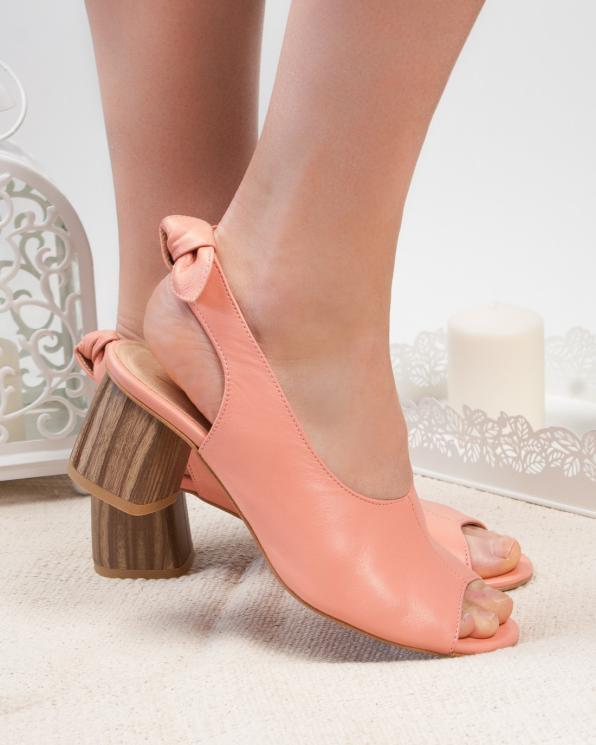 Różowe sandały damskie skórzane 2701/D66