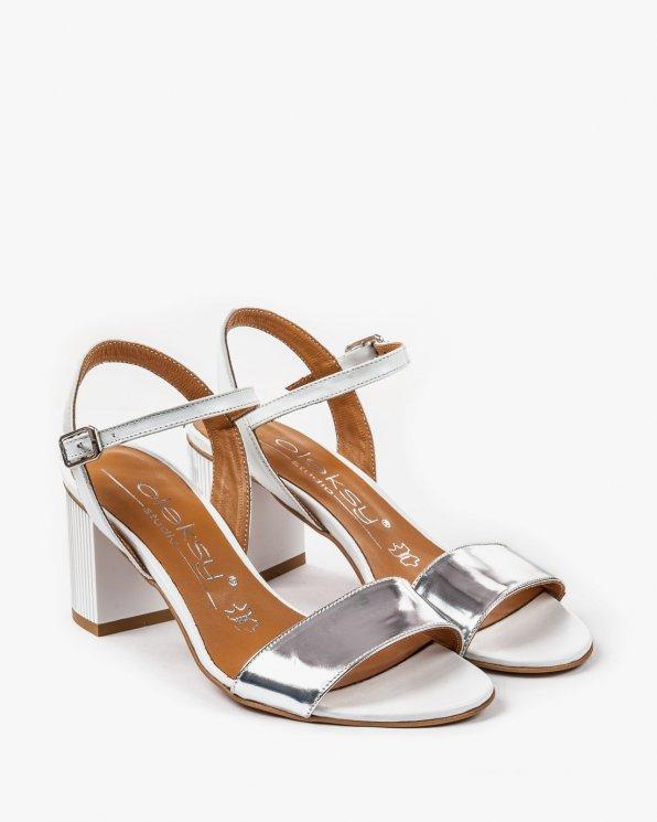 Biało srebrne sandały skórzane 2273/120/534