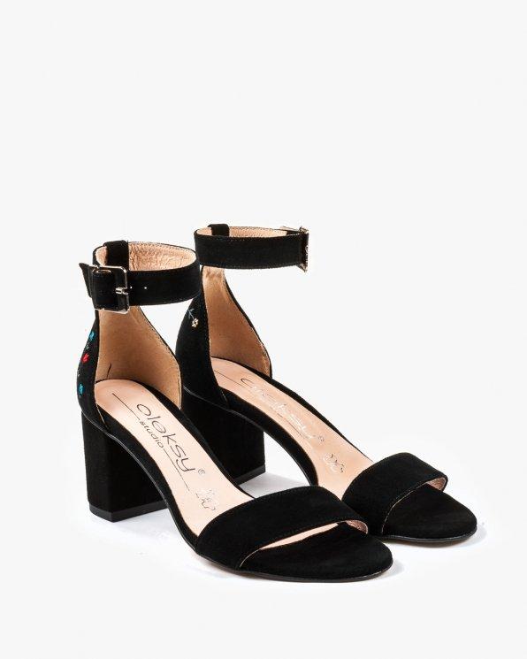 Czarne sandały damskie skórzane 2446/147