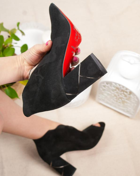 Czarne sandały damskie skórzane 2823/147