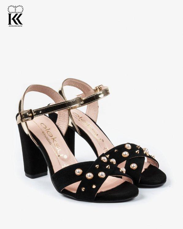 Czarne sandały damskie skórzane 2455/147/A38