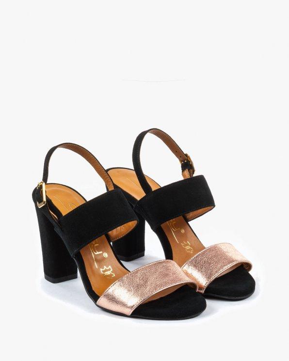 Czarno złote sandały damskie skórzane 2395/C71/147