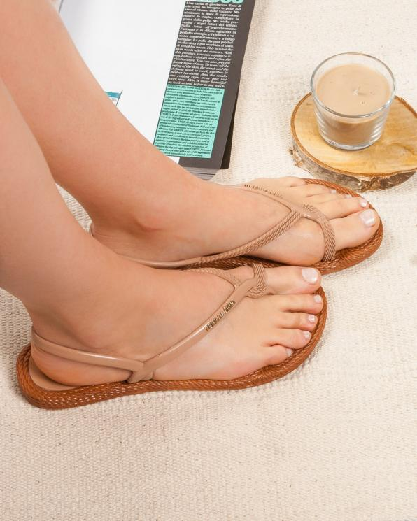 Beżowe sandały damskie KON260100/LINEN/CARMEL