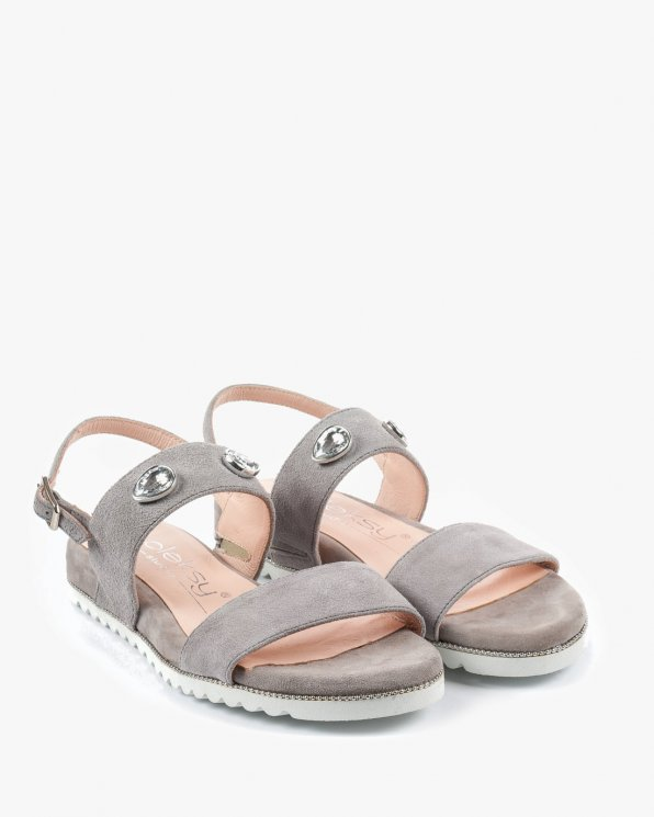 Szare sandały damskie skórzane 2543/952
