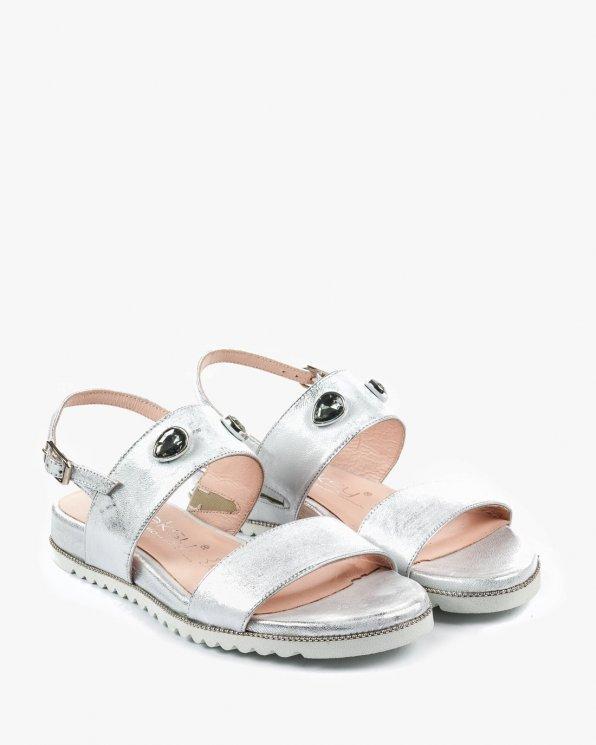 Srebrne sandały damskie skórzane 2543/963