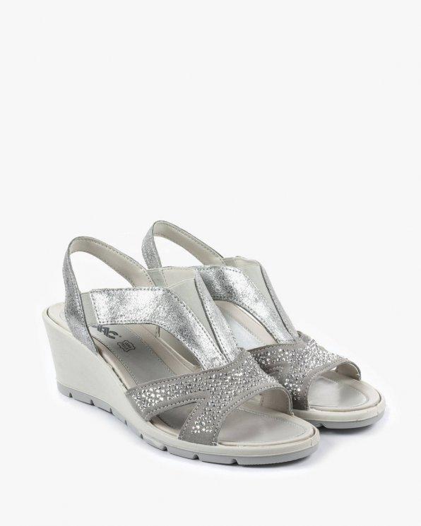 Srebrne sandały damskie skórzane EXI107560/SILVER/GREY