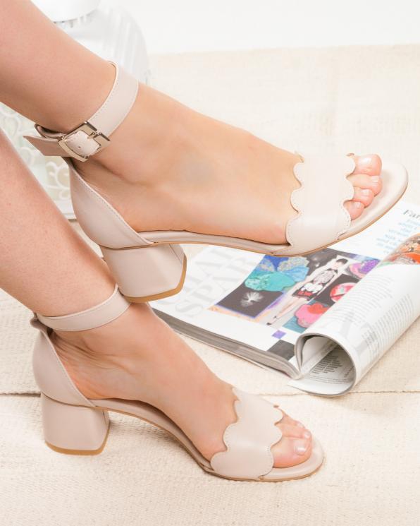 Beżowe sandały damskie skórzane 2696/B19