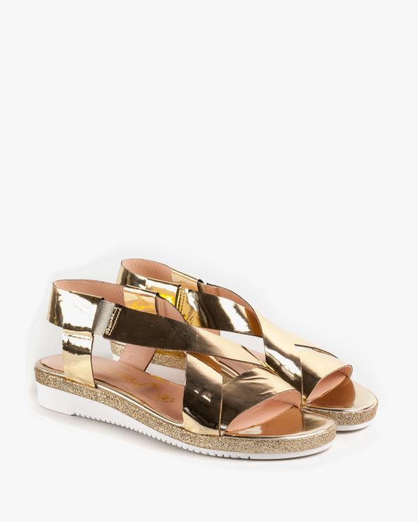 Złote sandały damskie skórzane 2312/A38