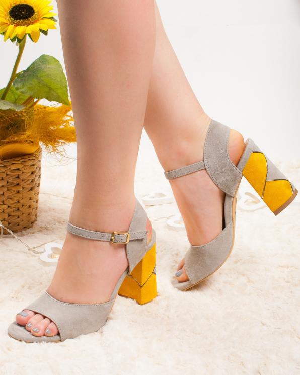 Wielokolorowe sandały damskie skórzane 2821/E89/E64