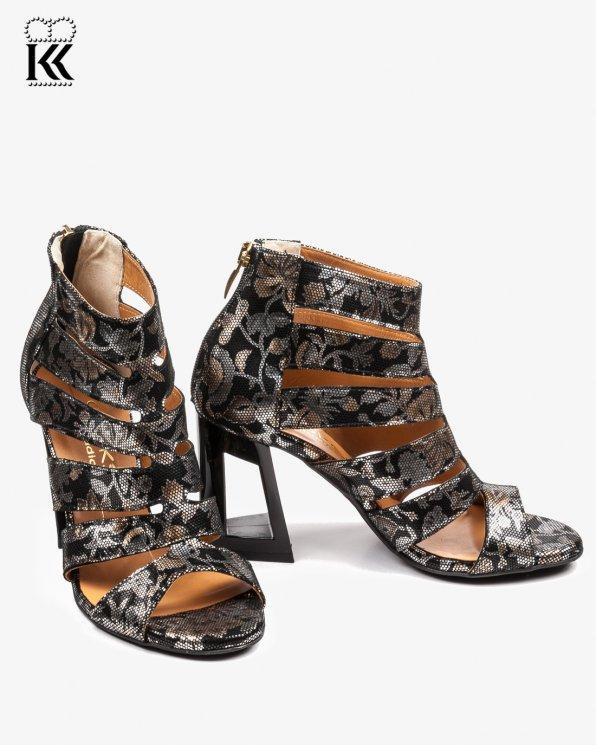 Wielokolorowe sandały damskie skórzane 2433/D68