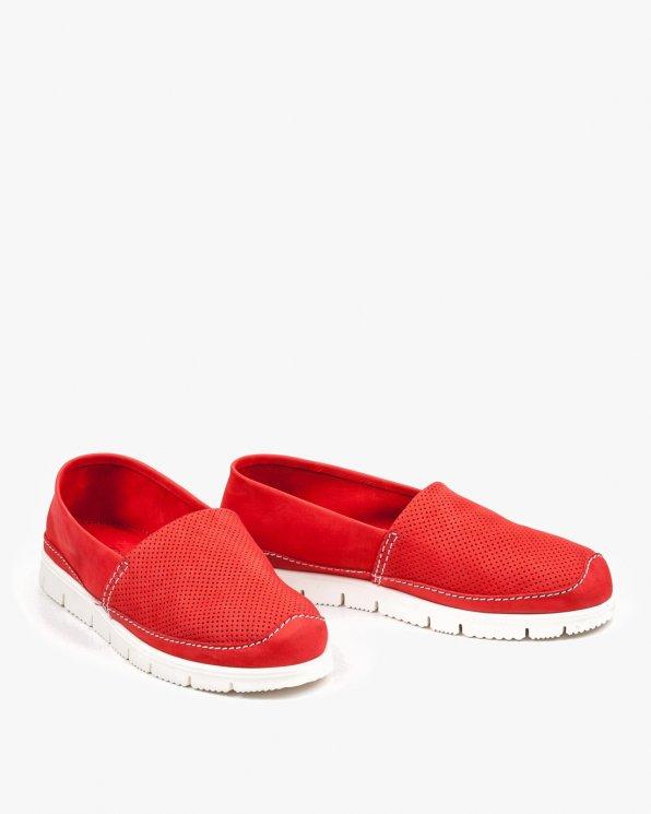 Czerwone półbuty damskie skórzane 2557/C24