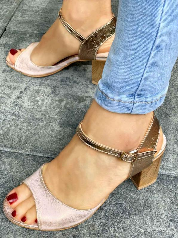 Wielokolorowe sandały damskie skórzane 3095/F74/F75