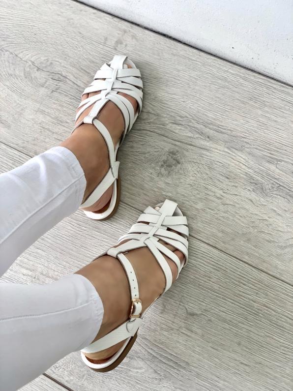 Białe sandały damskie skórzane 3527/G02