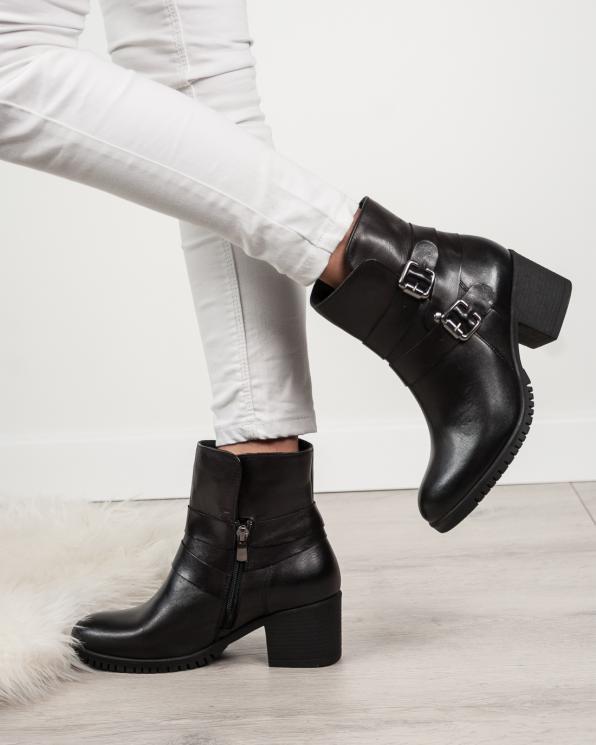 Czarne botki damskie skórzane 2988/F45