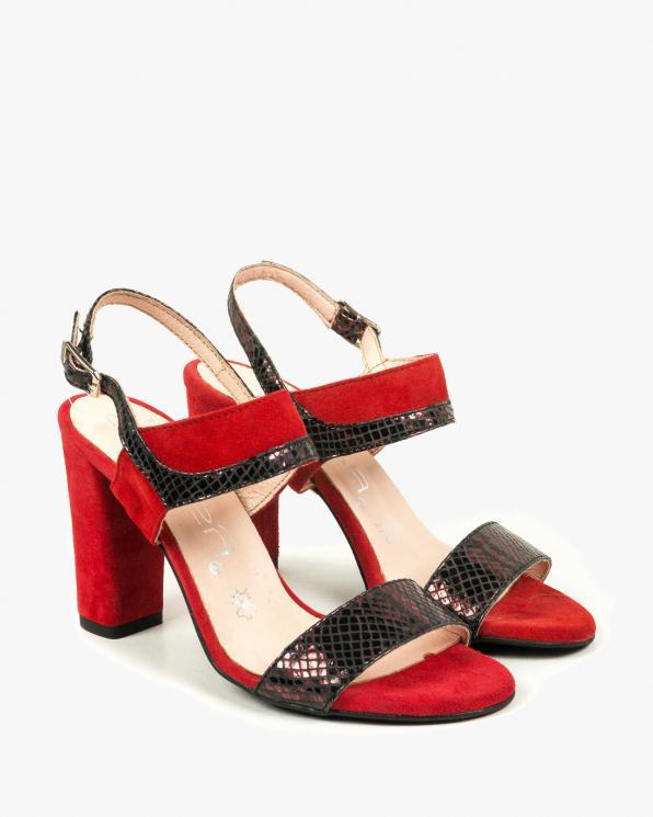 Czerwone sandały damskie skórzane 2290/A90/D33