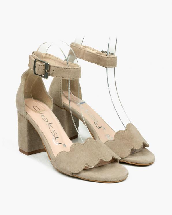 Beżowe sandały damskie skórzane  2696/F80/001