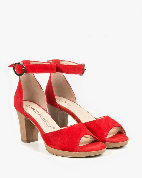 Czerwone sandały damskie skórzane 2691/955