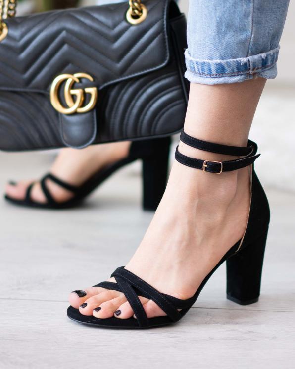 Czarne sandały damskie skórzane 2996/147