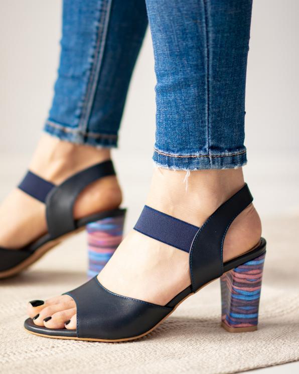 Granatowe sandały damskie skórzane 3022/A98/F62