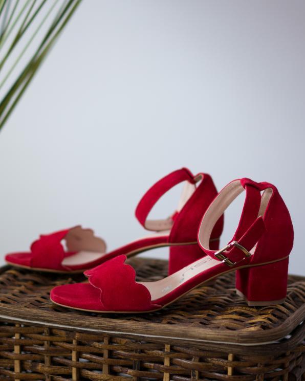 Czerwone sandały damskie skórzane 3066/955