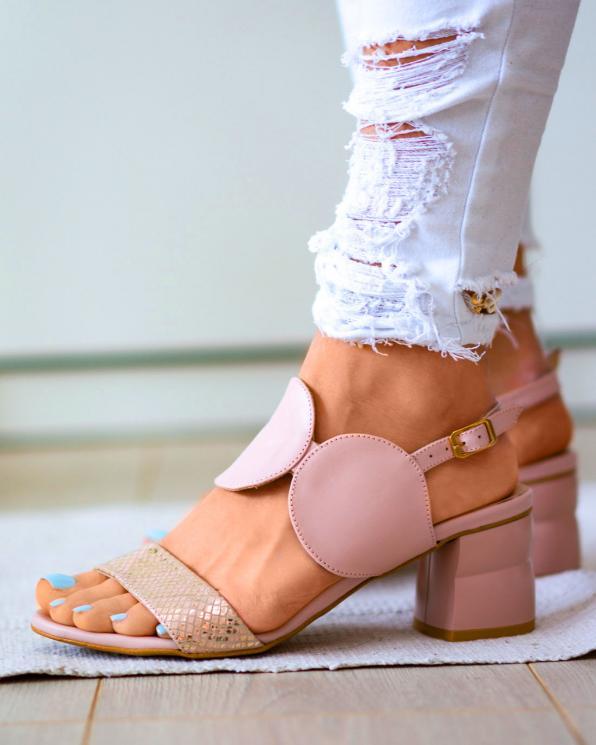 Różowe sandały damskie skórzane 2292/E63/E49
