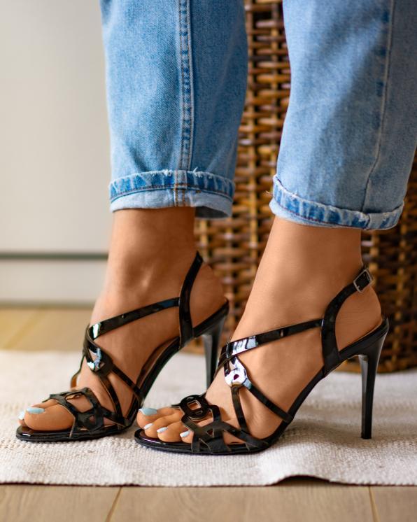Czarne sandały damskie skórzane 2399/542