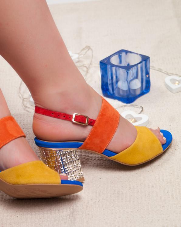 Wielokolorowe sandały damskie skórzane 2741/E62/E64/E60/955