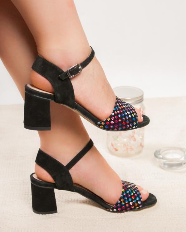 Czarne sandały damskie skórzane 2810/E43/147