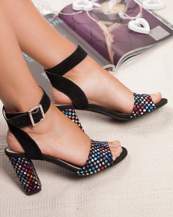 Czarne sandały damskie skórzane 2724/E43/147