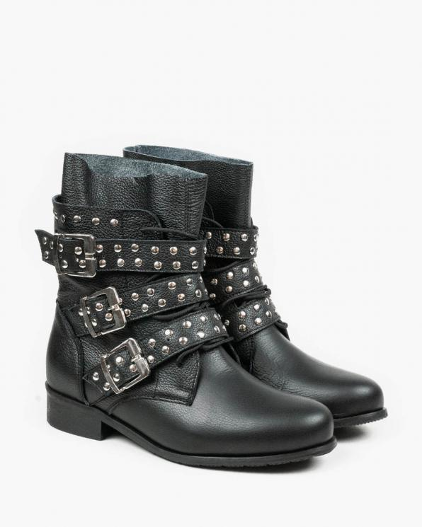 Czarne botki damskie skórzane 3329/C47