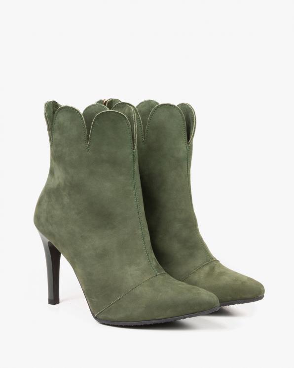 Zielone botki damskie skórzane 2884/D76