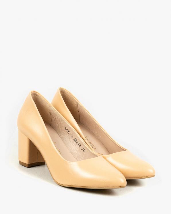 Żółte czółenka damskie skórzane 3092/F76