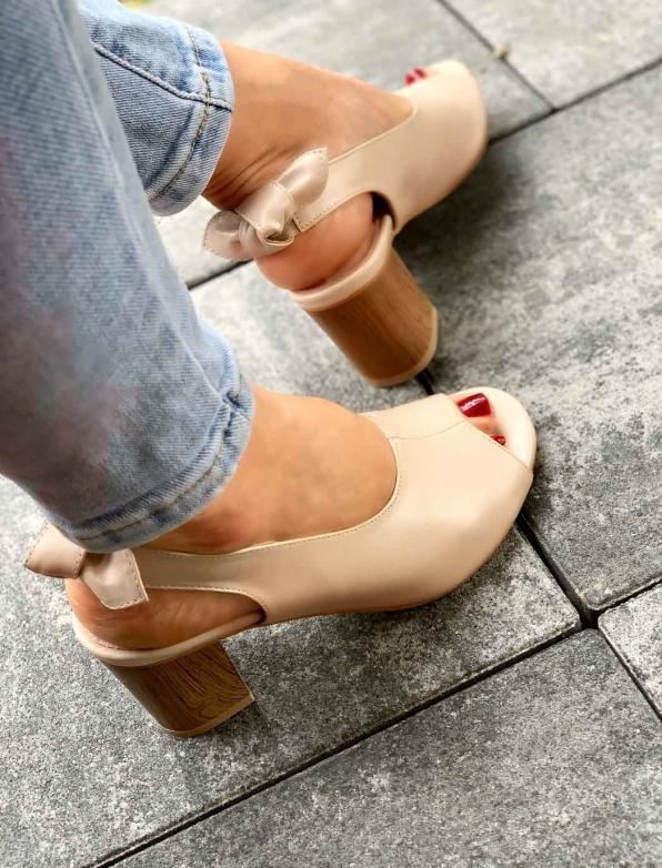 Beżowe sandały damskie skórzane 3193/F59