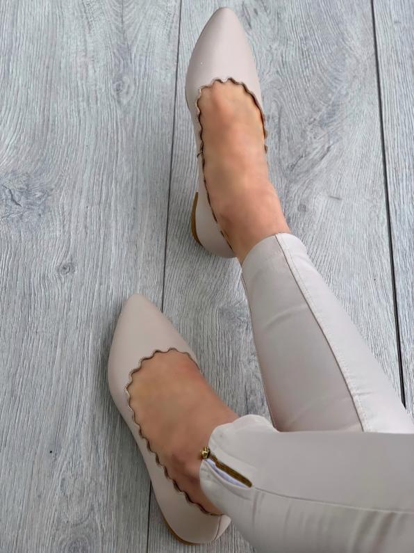 Beżowe baleriny damskie skórzane 3392/F67