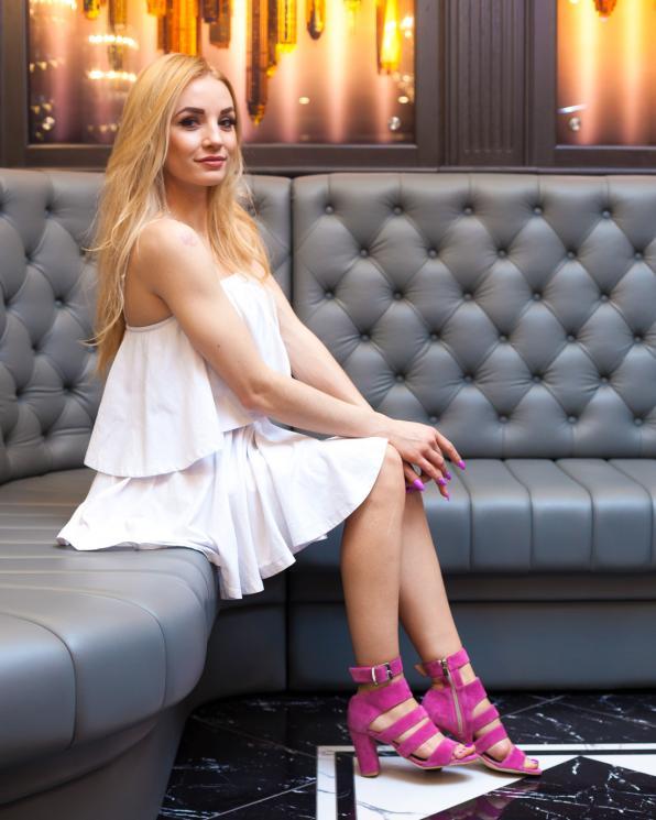 Różowe sandały damskie skórzane 2732/E35