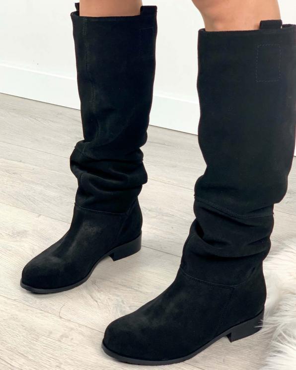Czarne kozaki damskie skórzane 3014/E12