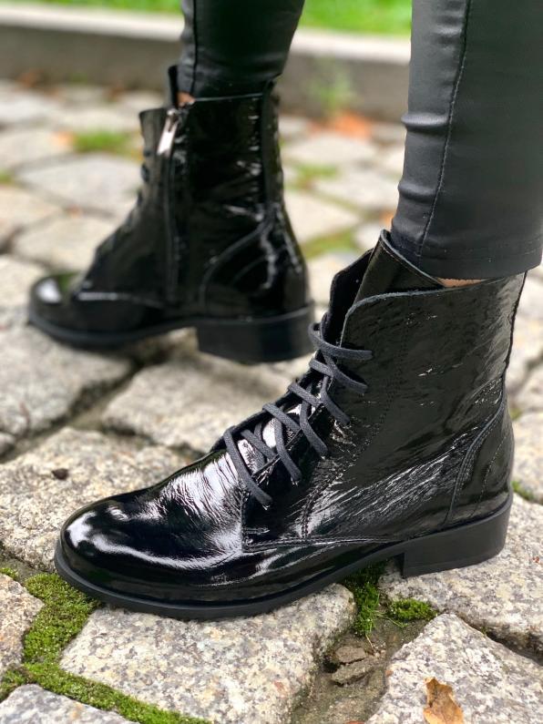 Czarne botki damskie skórzane 2659/G33