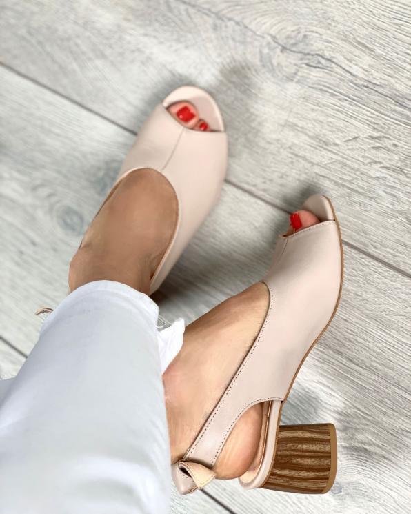 Beżowe sandały damskie skórzane 2701/F59